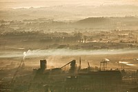 Aerial view of southern Johannesburg in early morning, Gauteng Province, South Africa