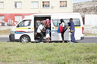 Passengers boarding a taxi, Ocean View, Cape Town, Western Cape Province, South Africa