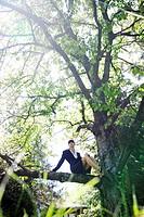 Businesswoman sitting in tree
