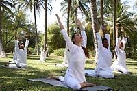 Group Yoga Session on the lawn at Shreyas Retreat near Bangalore, India ...