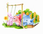Illustration of various animals and a swing