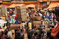 Fruits market by the Piazza area, at Addis Ababa, Ethiopia