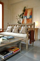 Living room with table and bench