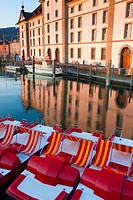 Rorschach, grain house, Switzerland, canton St. Gallen, lake, Lake of Constance, harbour, port, reflection, house, home, former granary, ship, boats, ...