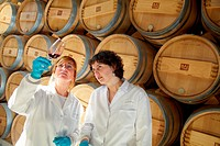 TECNALIA Researchers conducting a quality control of wine during the course of breeding in the barrel cellar, Bodegas Baigorri, Samaniego, Araba, Rioj...