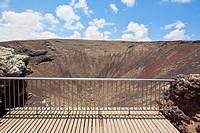 View into the crater of the vulcano Calderon Hondo, Fuerteventura, Spain