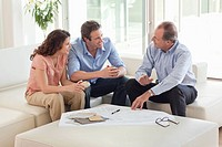 Couple sitting on sofa talking to financial advisor