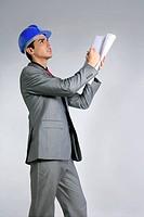 Architect engineer with blue hardhat