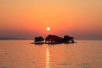 Evening View of Yomegashima and Lake Shinji, Matsue, Shimane, Japan