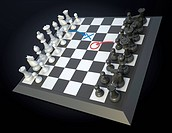 Chess game board with visible player´s strategy moves
