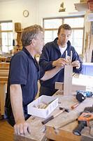 Germany, Upper Bavaria, Schaeftlarn, Carpenters working