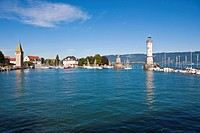 Germany, Bavaria, Lindau, View of light house with city