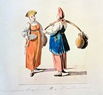 Dairywomen (From the series The Moscow Merchants). Geissler, Christian Gottfried Heinrich (1770-1844). Watercolour and ink on paper. German Painting o...