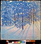 Winter morning. Grabar, Igor Emmanuilovich (1871-1960). Oil on canvas. Postimpressionism. 1907. M. Kroshitsky Art Museum, Sevastopol. 80x80,5. Paintin...
