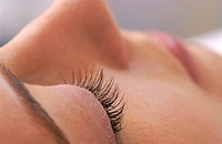close up view of a closed and rouged eye of a woman _ seitlich _ side view