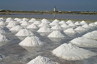 Saltworks on Sicily _ salt extraction of sea water _ salt pile with extracted salt