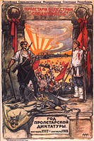 The Proletarian dictatorship's year: October 1917—October 1918 (Poster). Apsit, Alexander Petrovich (1880-1944). Colour lithograph. Soviet political a...
