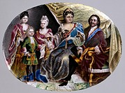 Family of Emperor Peter I. Musikiysky, Grigori Semyonovich (1670-after 1739). Enamel on copper, porcelain. Russian Art of 18th cen. . 1717-1718. Walte...