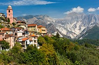 The village of Fontia belongs to the municipality of Carrara with Apennine Mountains over Carrara in the background, Province of Massa-Carrara, Toscan...