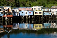 Chile. Chiloe island. Stilt houses in Castro city.