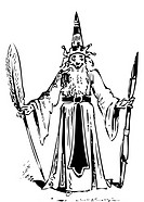 Old engraving of a wizard with a smile on his face, long beard and pointy hat, holding a quill and a wand  From the Almanach comique, pittoresque, dro...