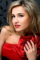 blonde in a red gown