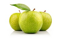 Three green apple fruits with leaf isolated on white