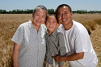 the three generation in the wheat fields