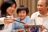 a family having dinner indoor