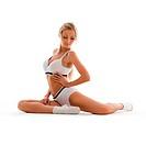 Beautiful blonde is making exercises