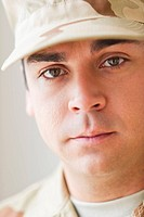 Portrait of soldier, studio shot