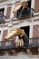 Dragons on the Facade of the Maison de la Magie - House of Magic, Blois, Loire Valley, France
