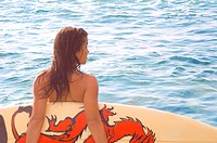 Girl with Dragon Surfboard Watching Waves