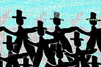background design, dancing men in black