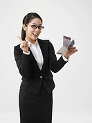 Portrait of Business woman holding a bankbook