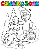 Coloring book with kids mushrooming _ thematic illustration.