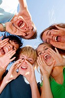 happy group of kids singing at summer school,