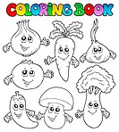 Coloring book with vegetables _ thematic illustration.