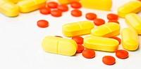 Medicinal pills piled up a bunch of closeup