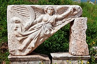 RUINS OF AN ANCIENT SCULPTURE REPRESENTING THE GODDESS OF VICTORY NIKE, AEGEAN COAST, TURKEY