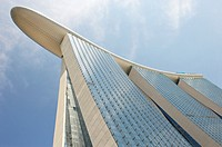View from below of Marina Bay Sands Hotel  The hotel is part of Marina Bay Sands an integrated resort that include also casino, shopping mall and a sc...