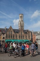 The Belfort Tower view fom Burg, one of the best places to see about medieval Bruges, Flanders, Belgium