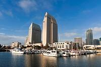 Marina and San Diego skyline, California, United States of America, North America