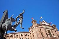 Monument to the matador Jose Cubero El Yiyo, near Las Ventas bullring, Plaza de Toros de Las Ventas, Madrid, Spain, Europe