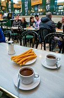 Chocolate with churros for two. Chocolateria San Gines, Madrid, Spain.
