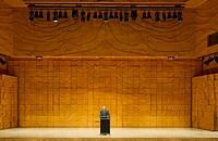 Caucasian businessman practicing speech in empty auditorium