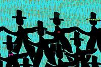 dancing men in black