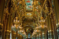 France, Paris, the Grand Foyer with ceiling painting by Paul Baudry with motifs from musical history, Opéra Palais Garnier opera, ...