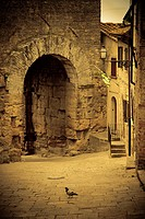 Dark alley and archway, Italy