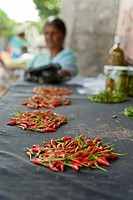 Chilli peppers at a market Mauritius